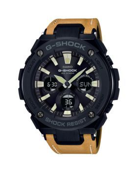 8bccc9b7114 G-Shock Men s G-Steel Black Face Ana-Digi With Mustard Color Leather Band -  Light Brown - One Size