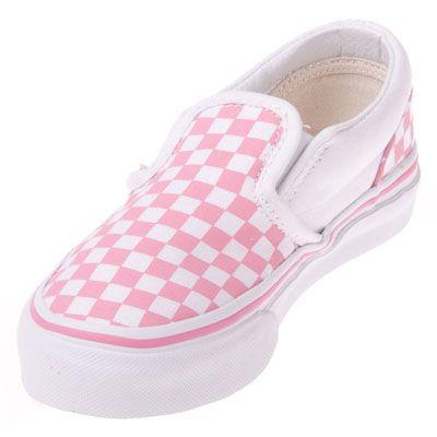 girls pink and white checkered vans
