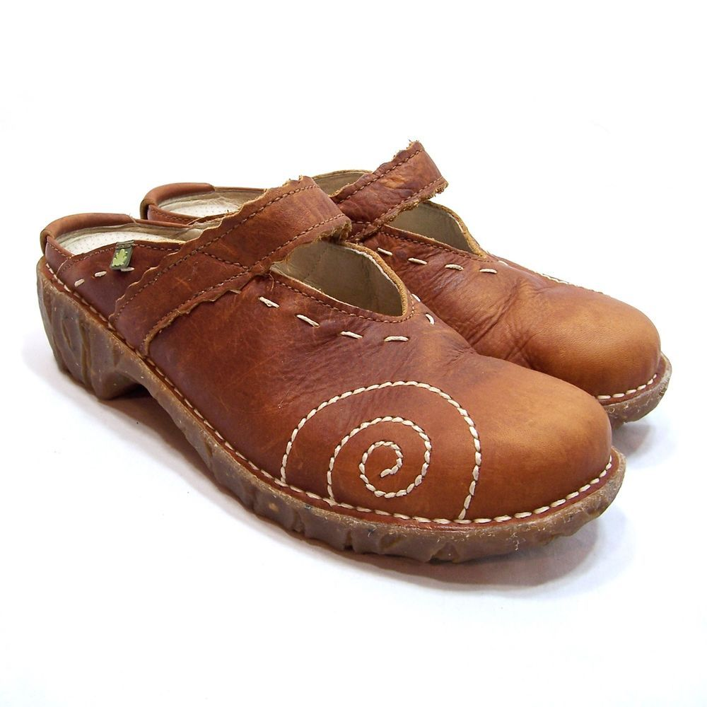El Naturalista Iggdrasil Clog Mules Size 38 Brown Leather Slip On Mary Jane  Shoe