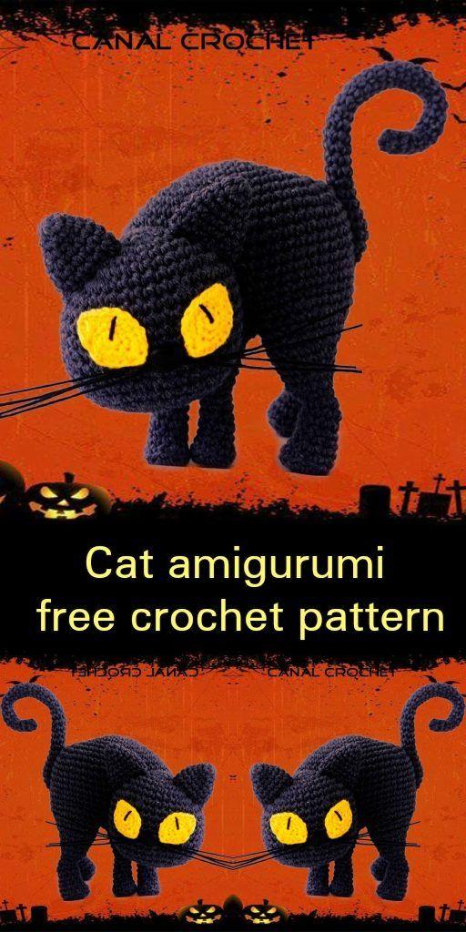 Amigurumi cat free crochet pattern | Ganchillo, Tejido halloween y ...