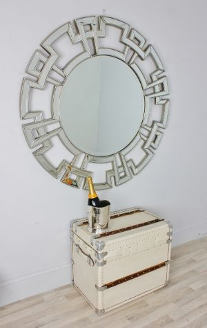 Large Bronzed Silver Edge Antique Style Round circular Wall Mirror - Myan Bronze