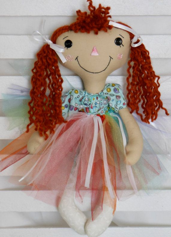 Raggedy Ann  Cloth Doll   Blue  and by BubbesBabysCreations, $36.00