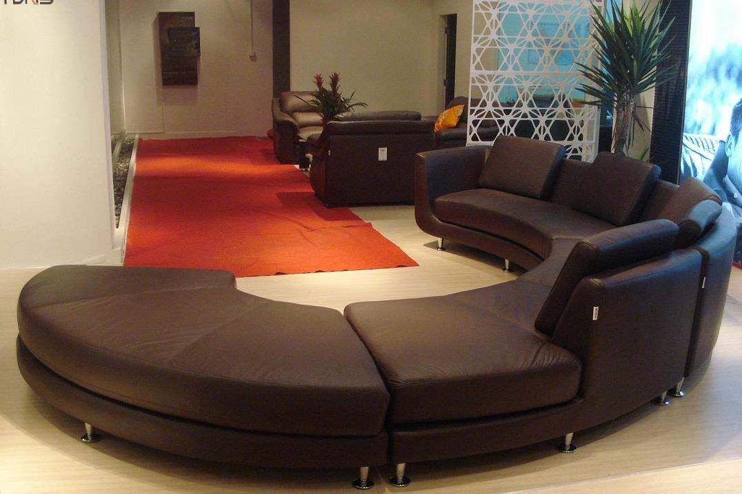 Modern round leather sectional sofa a94 leather - Leather furniture for small living room ...