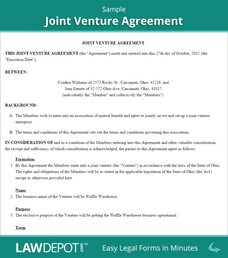 Joint Venture Agreement Template Joint Venture Joint Agreement