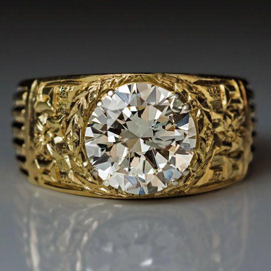 Vintage 3 Carat Diamond Gold Men S Ring