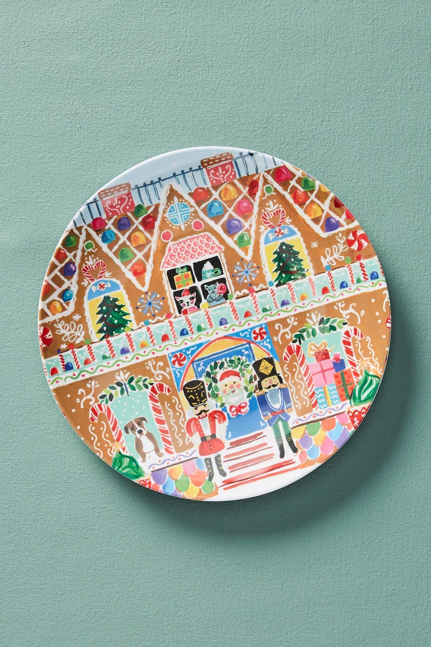 Melamine Christmas Platters.August Wren Kris Kringle Melamine Dessert Plate Prezzies