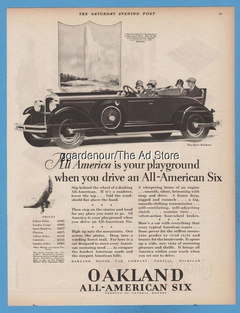 1928 Oakland Motor Car Co Pontiac MI General Motors GM Sport ...