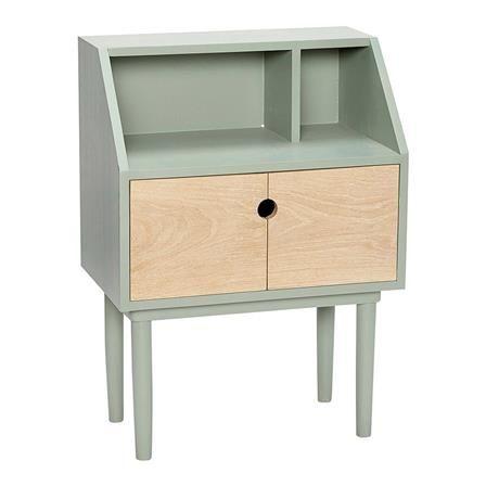 ACHICA | Wooden Dresser with Door, Green/Nature