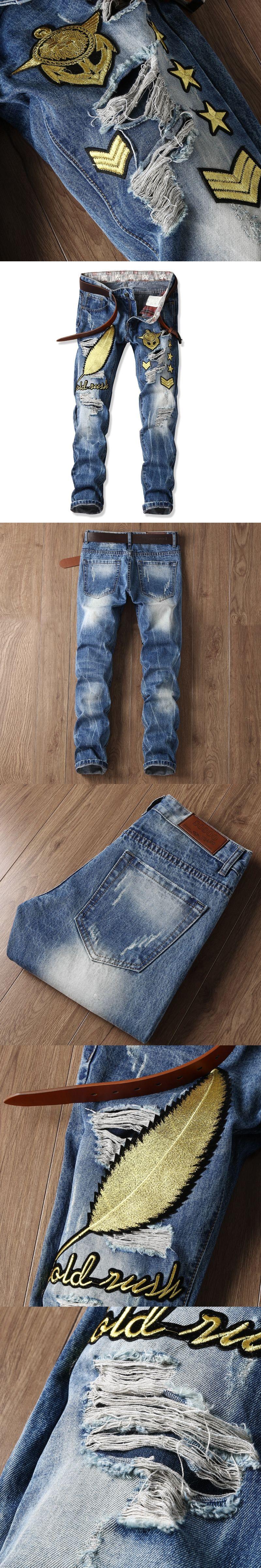 094839a1f7 Summer Plus Size Designer Vintage Retro Jeans Men Worn Denim Trousers  Fashion Light Blue Straight Jeans
