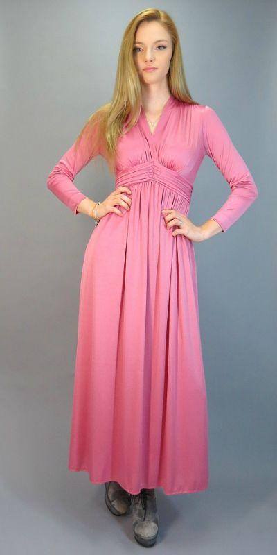 bab927fe1dda3 Vintage 70s Maxi Goddess Gown Dusty Rose Long Sleeve Full Length Disco Diva  Dress Gathered Draped Bust V Neck Empire Waist Babydoll Dress by ...
