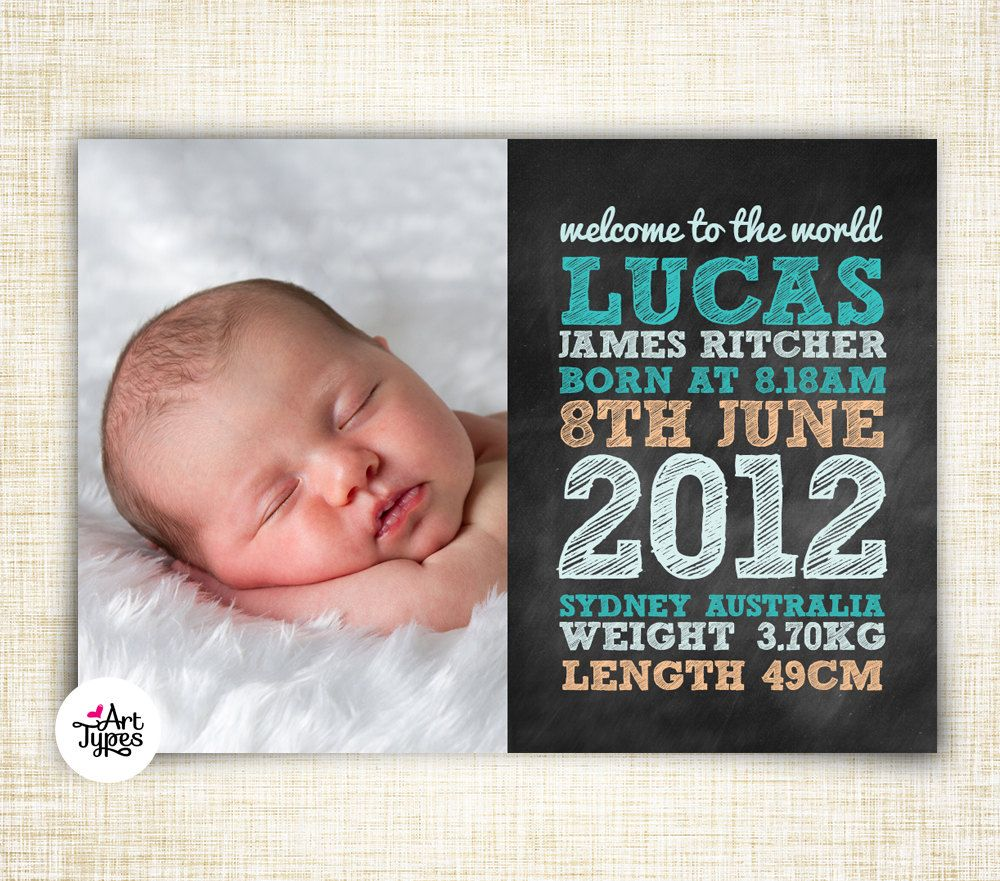 Baby Boy Birth Announcement Printable 5x7 postcard - Chalkboard Typography style - DIY. $15.00, via Etsy.