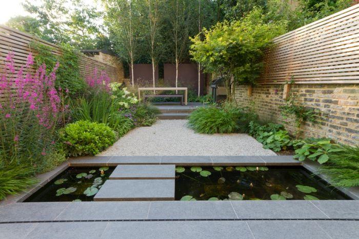 decoration exterieur petit bassin deau terrain sabl broussailles vertes clture - Petit Bassin Jardin Japonais