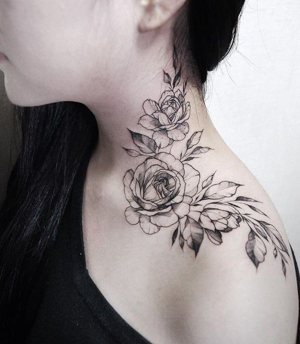 Beautiful Rose Tattoo Ideas For Women Rose Neck Tattoo Neck Tattoos Women Cool Shoulder Tattoos