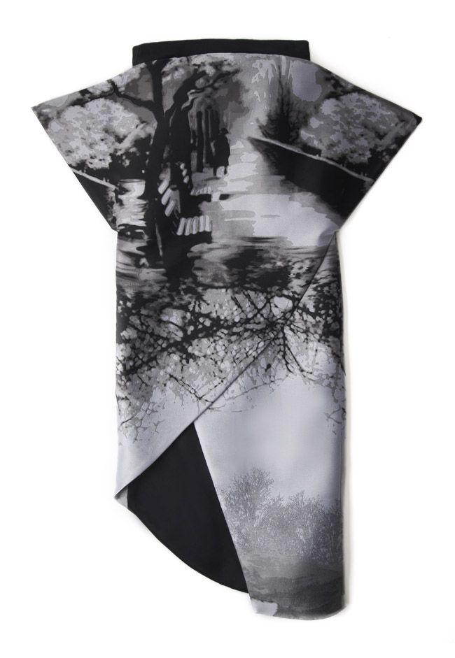 Digital landscape printed top - eerie fashion prints; photographic nature-inspired fashion // Mary Katrantzou