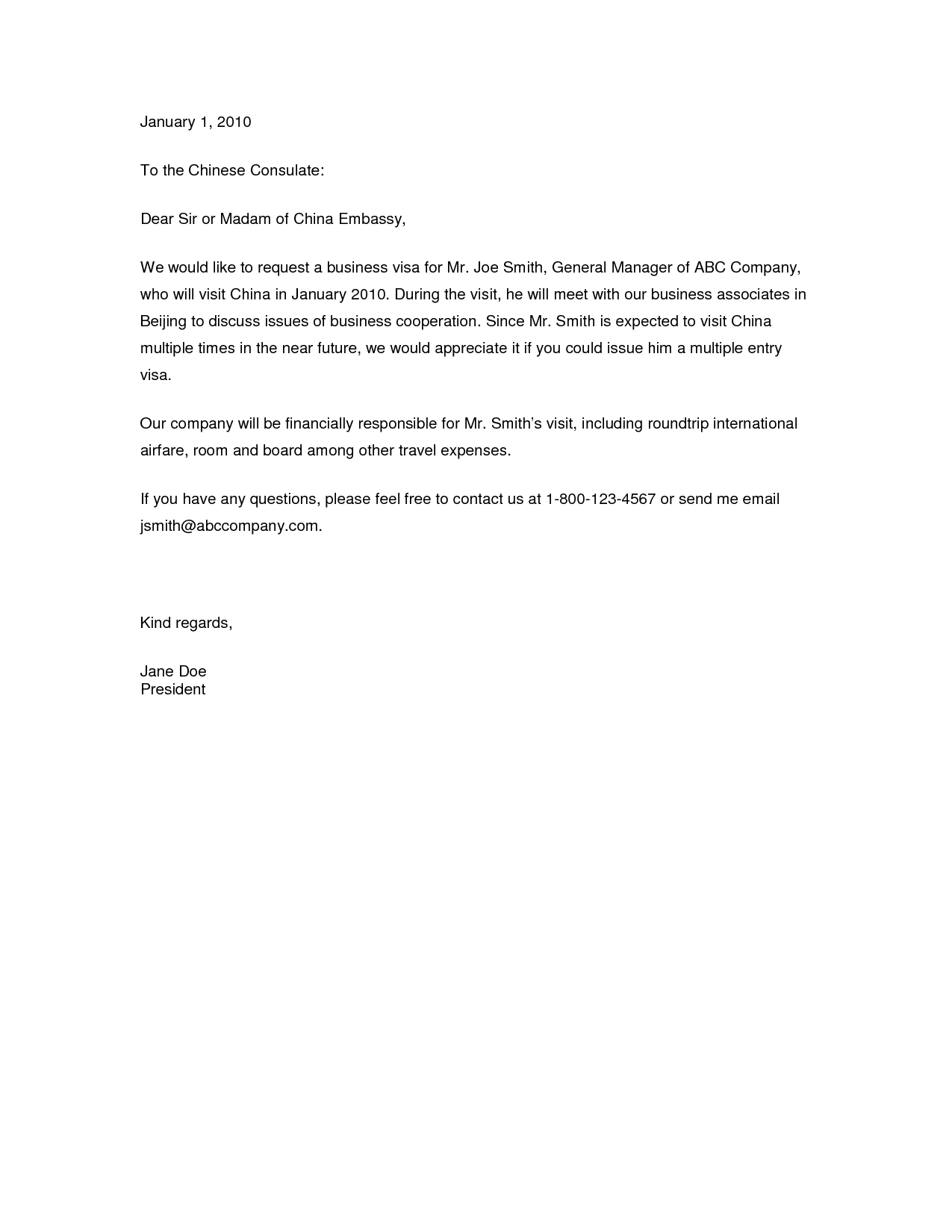 Visa Application Letter Sample Invitation Letter Of