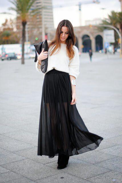 582c61c570 Falda larga negra con transparencia