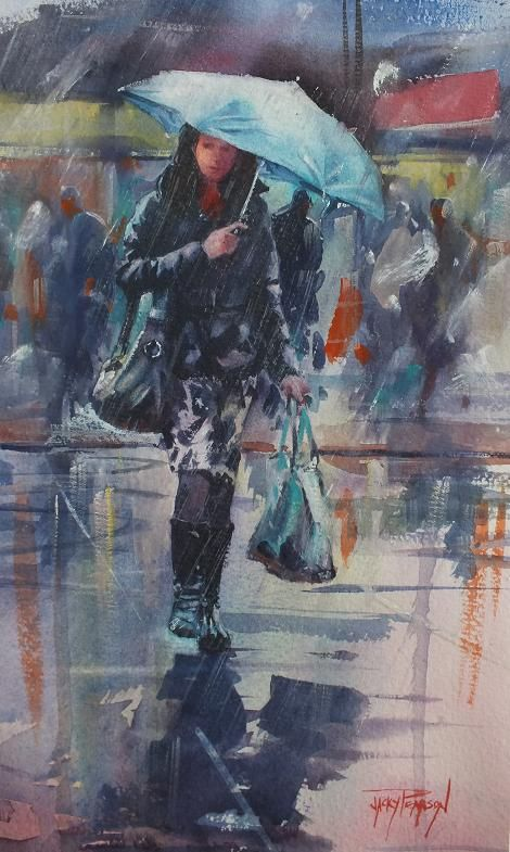 Watercolour Jacky Pearson Rain Painting Umbrella Art Rain Art