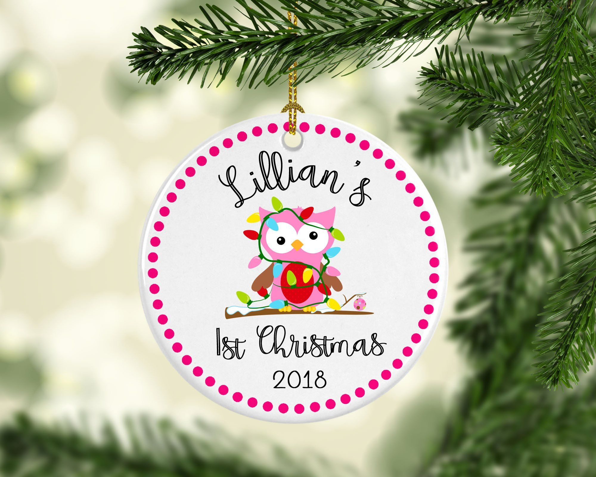 Baby S 1st Christmas Ornament Baby First Christmas Personalized Christmas Ornament Owl Ornament Baby Shower Gift Baby Girl Or B Baby S 1st Christmas Ornament Personalized Christmas Ornaments Babys 1st Christmas