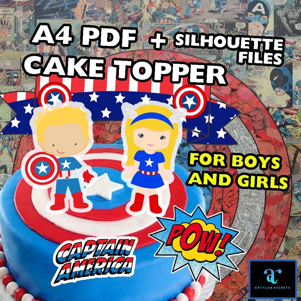 Captain America Cake Topper Avenger Cake Decor Printable Etsy Girls Birthday Party Decorations Cake Toppers Topper