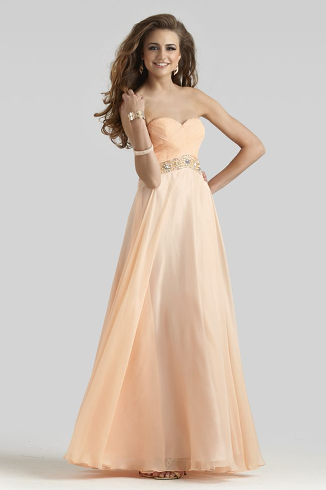 Strapless A-line Prom Dress 2401 | Pinterest | Light peach, Prom and ...
