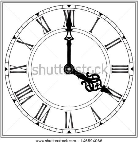 elegant roman numeral clock / vector illustration