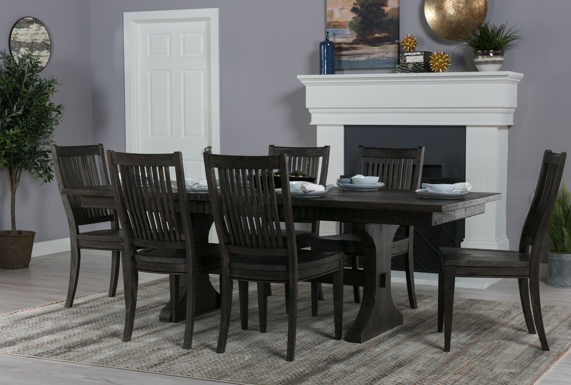 Valencia Extension Trestle Dining Table Grey 750 Dining
