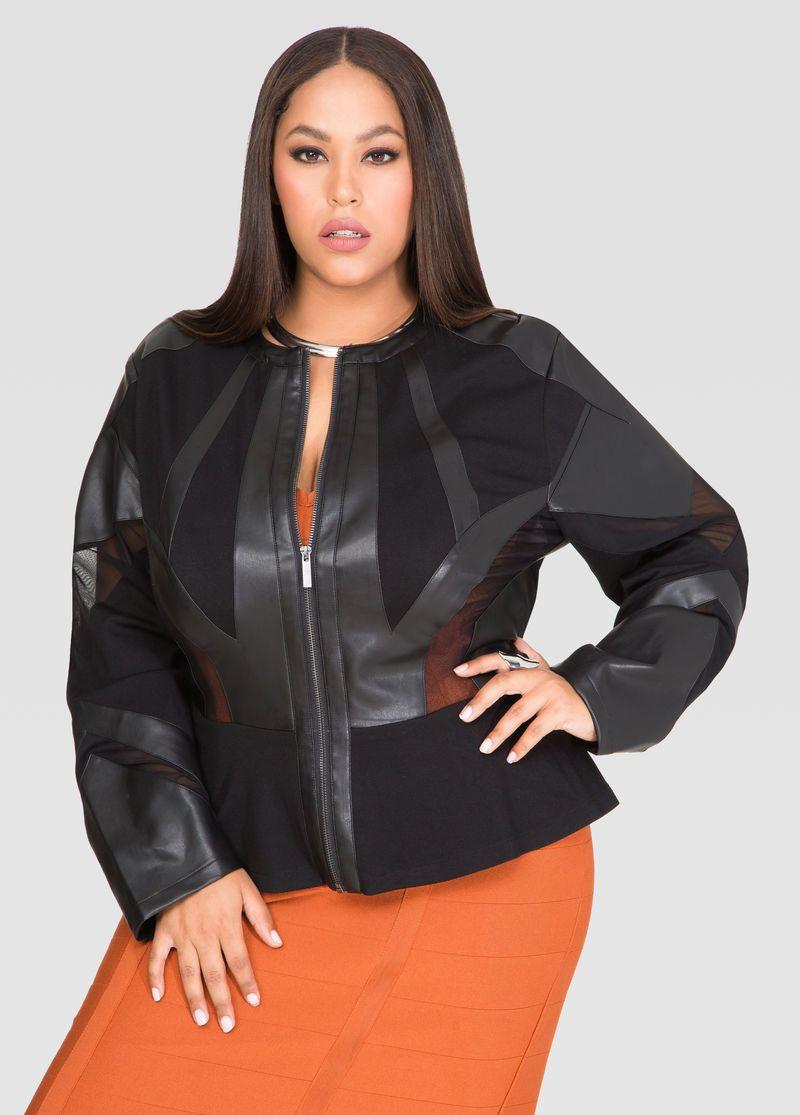 8774890a8db Mesh Faux Leather Peplum Jacket Mesh Faux Leather Peplum Jacket