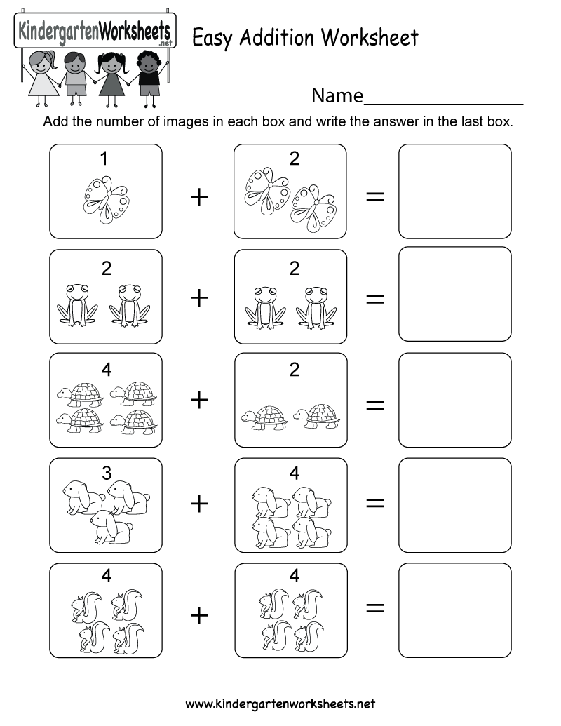 worksheet Easy Kindergarten Math Worksheets this is an image addition worksheet with numbers would be easy free kindergarten math for kids