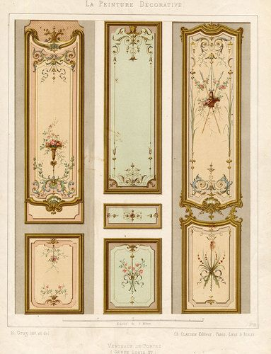 Antique Print Decoration Door Panel Ornament Louis Xv Style Plate 32 Gruz 1860 Painted Paneling Decorative Painting Mural Art