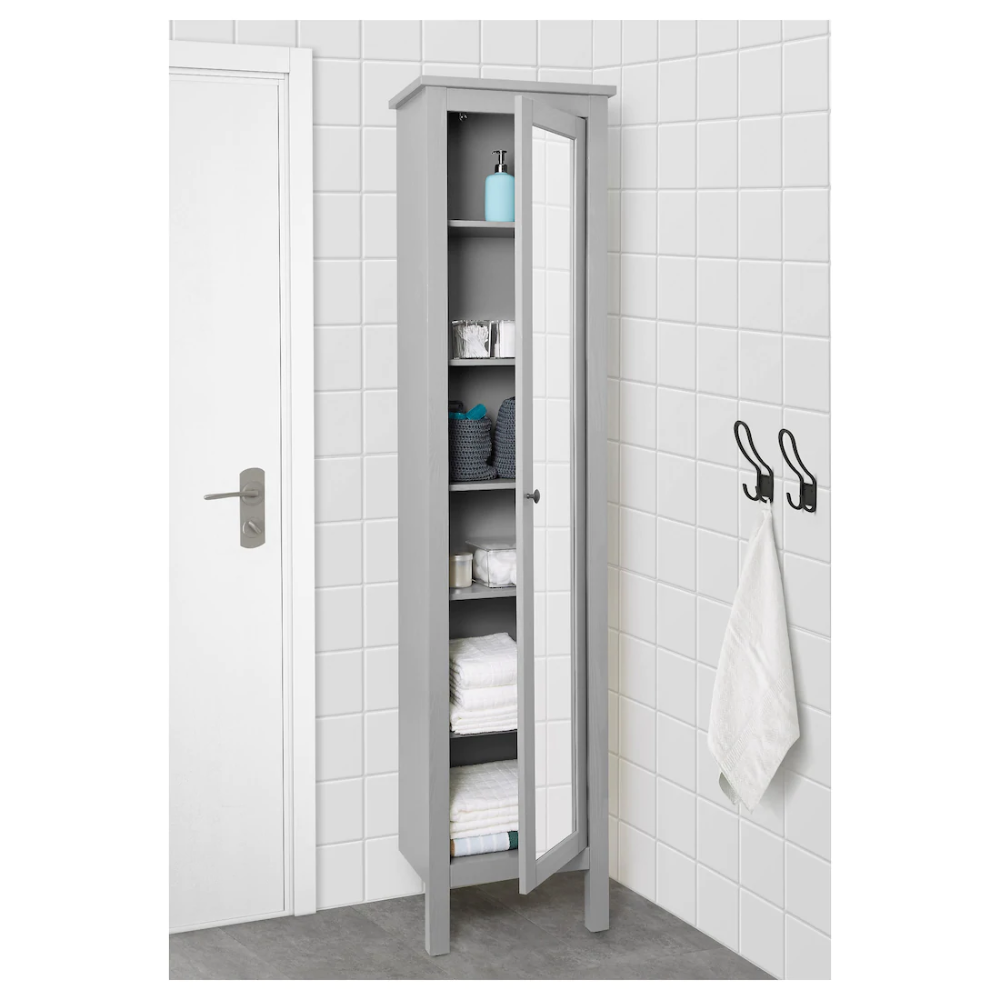 Hemnes High Cabinet With Mirror Door Gray 19 1 4x12 4x78 3 4 Ikea Bathroom Storage Narrow Tall