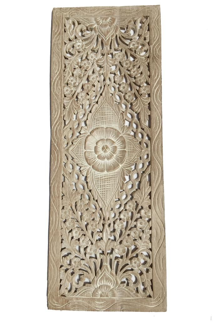 Floral Wood Carved Wall Panel. Wall Hanging. Asian Home Decor