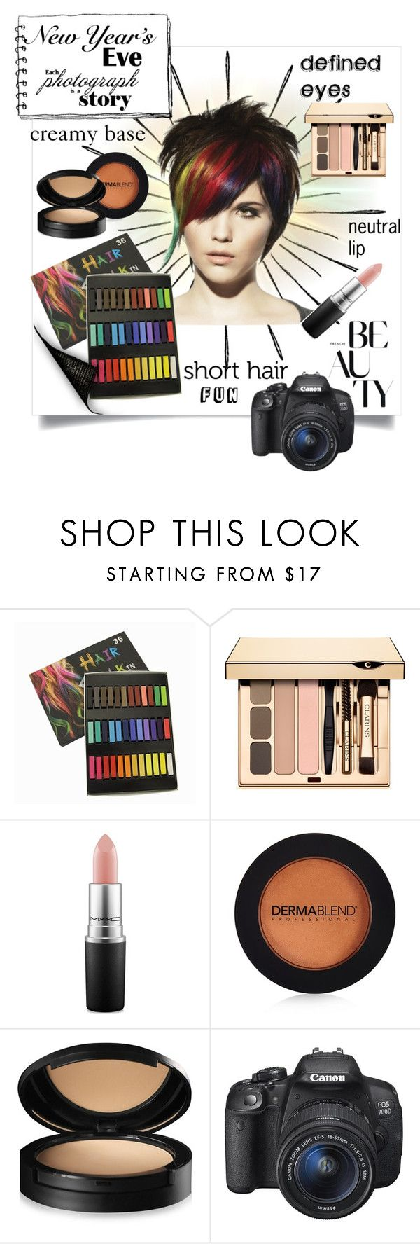 """New Years's Fun"" by bonnie-wright-1 ❤ liked on Polyvore featuring beauty, MAC Cosmetics, Dermablend and Eos"