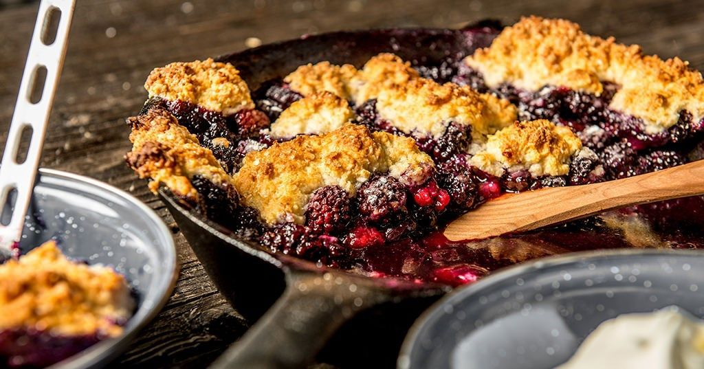 Baked Cast Iron Berry Cobbler Recipe   Traeger Wood Fired ...