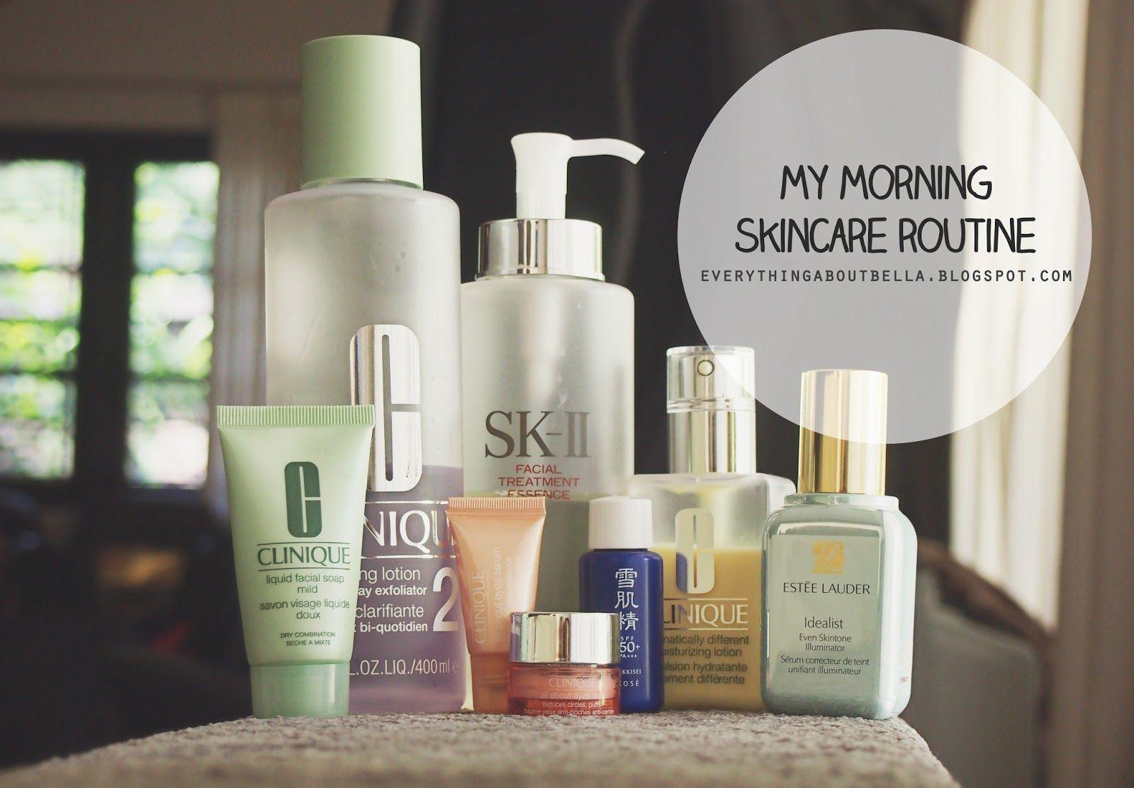 Morning Skincare Routine Dry Combination Skin Clinique Sk Ii Estee Lauder Kose Morning Skin Care Routine Morning Skincare Skin Care