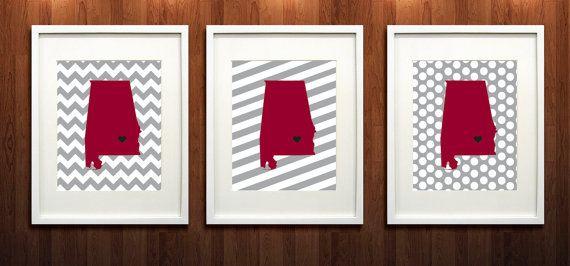 Troy, Alabama State Set of Three Giclée Map Art Prints- 8x10 - Troy University Print - Graduation Gift Idea - Dorm Decor