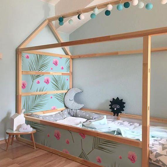 ikea kura bed removable stickers hawai flowers ikea nursery decals furniture stickers. Black Bedroom Furniture Sets. Home Design Ideas