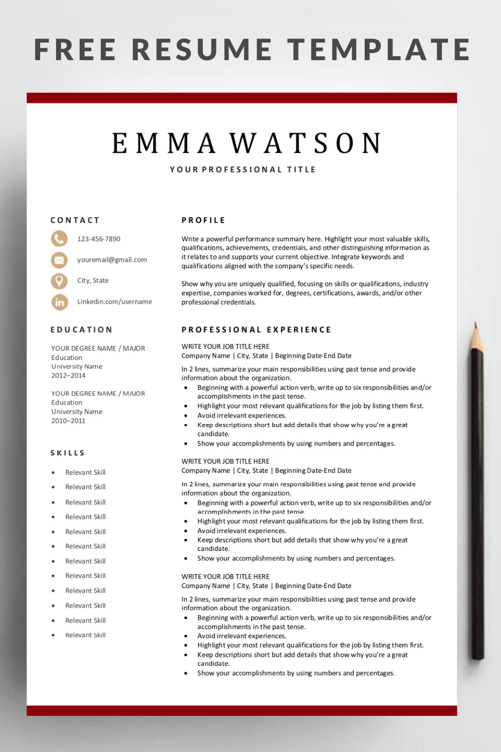 Modern Resume Template Download For Free In 2020 Resume Template Free Resume Template Downloadable Resume Template