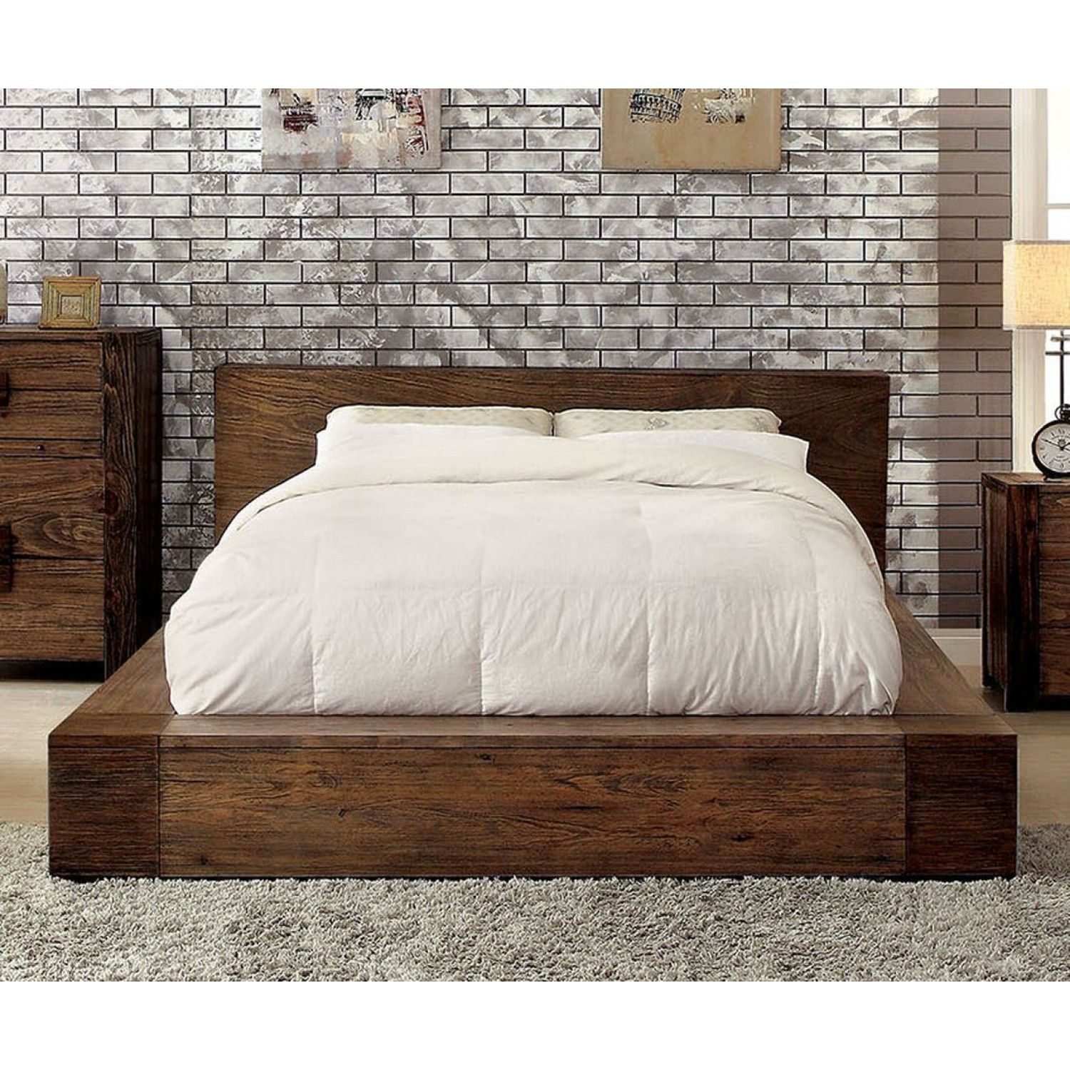 Furniture of America Janeiro Queen Bed in Rustic Natural