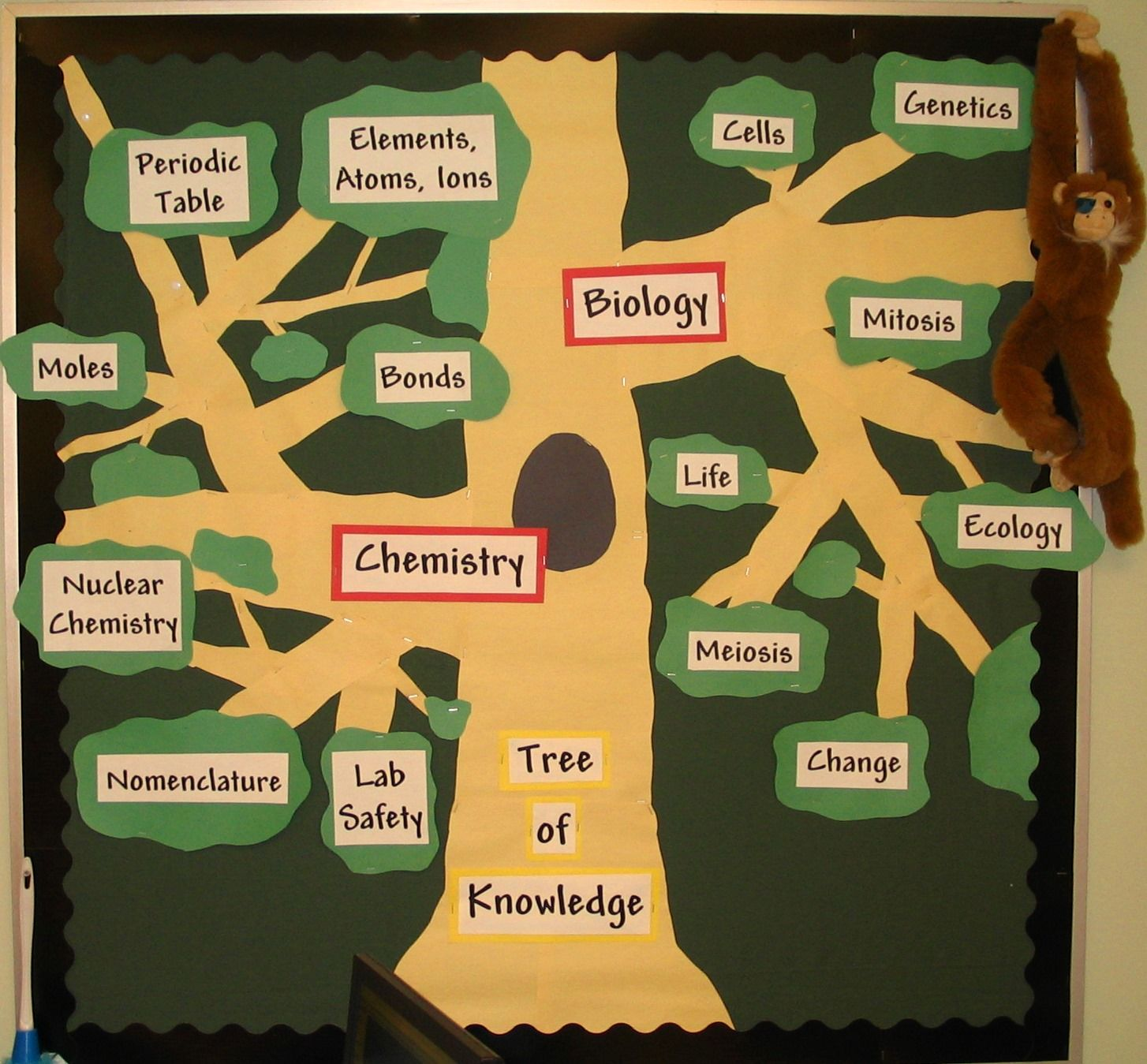 Biology Classroom Decoration ~ Tree of knowledge biology and chemistry bulletin board