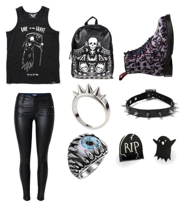 """""""Graveyard girl"""" by emilythejester ❤ liked on Polyvore featuring Loungefly, Dr. Martens, Alexander McQueen, Punky Pins, black, tumblr, emo, goth and alternative"""