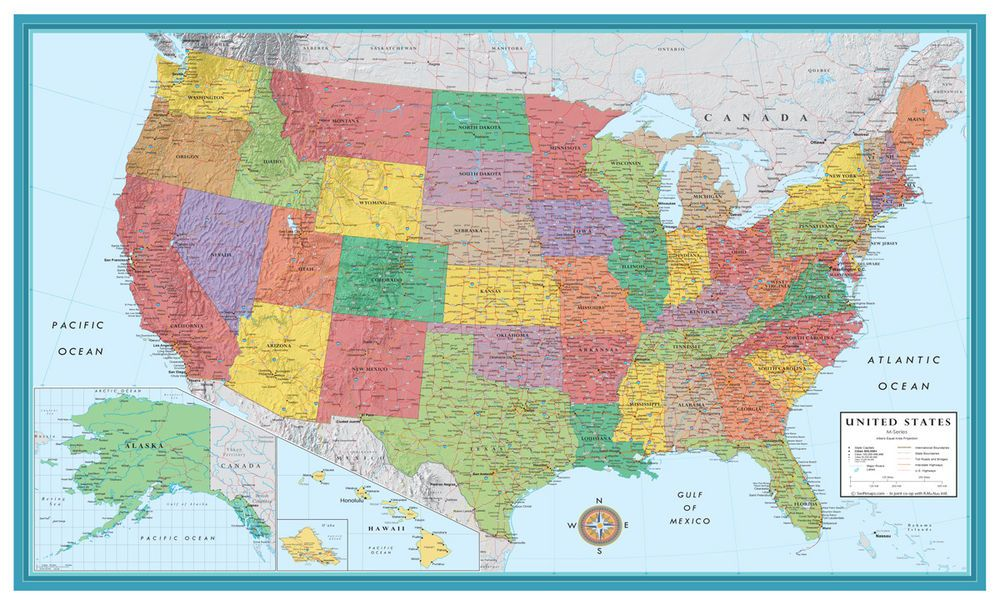Details About 32x50 Rand Mcnally Style United States Usa