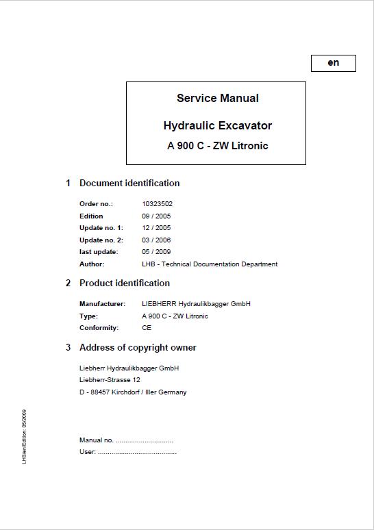 Liebherr A900c Zw Litronic Excavator Service Manual Excavator Hydraulic Excavator Manual