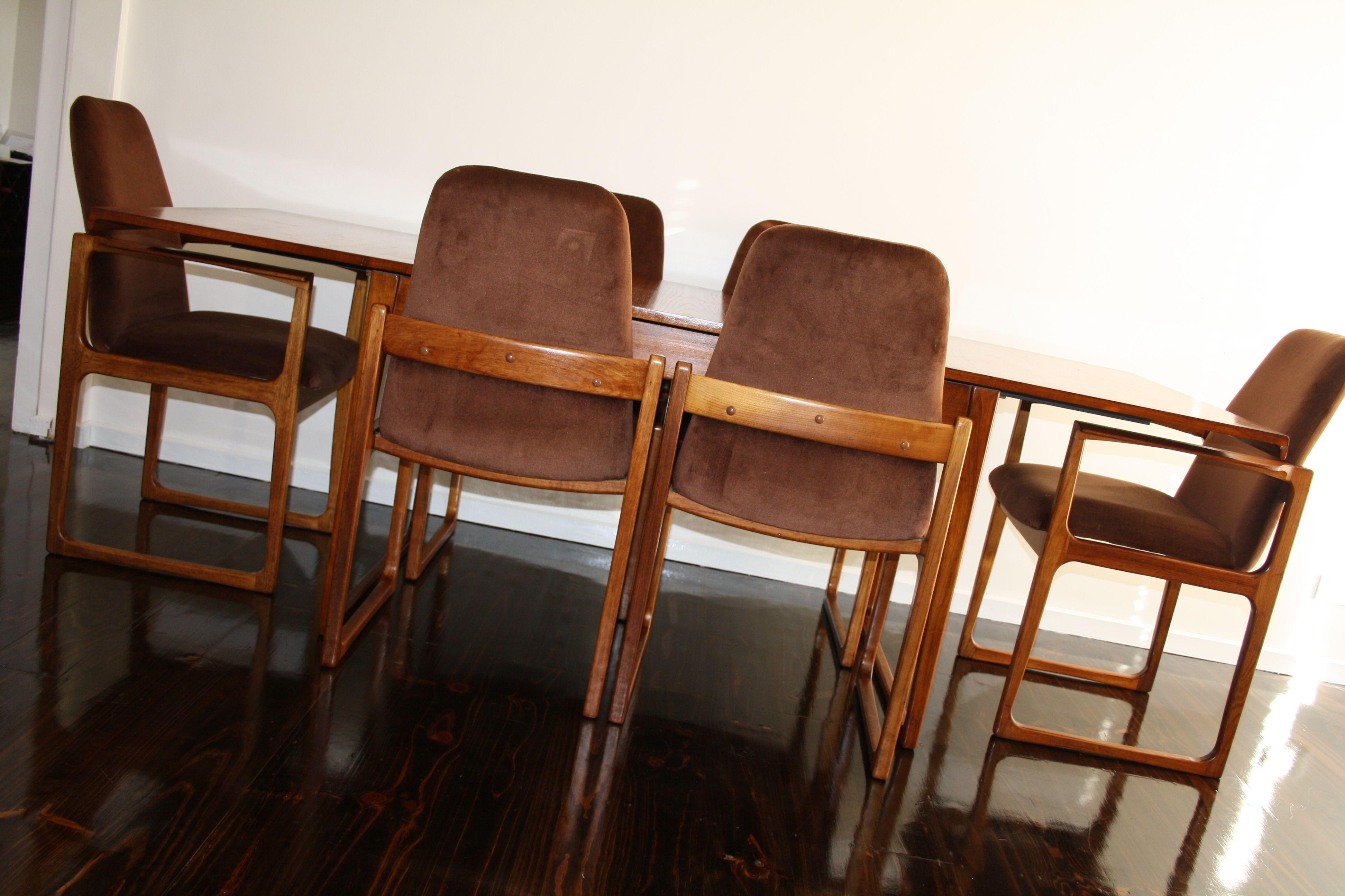 Mid Century Gerald Easden Sleigh Leg Dining Setting Chairs Table
