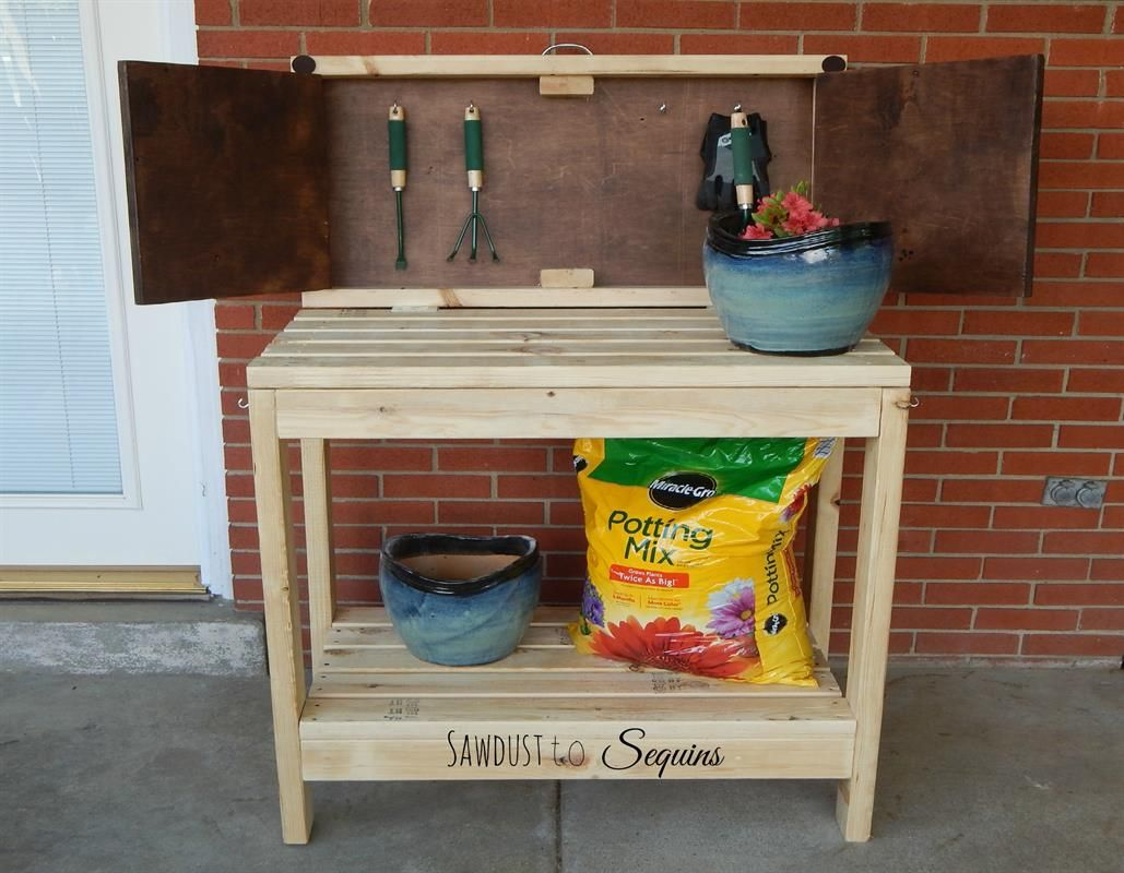 This Is A Party Cart That Turns Into A Potting Bench. When