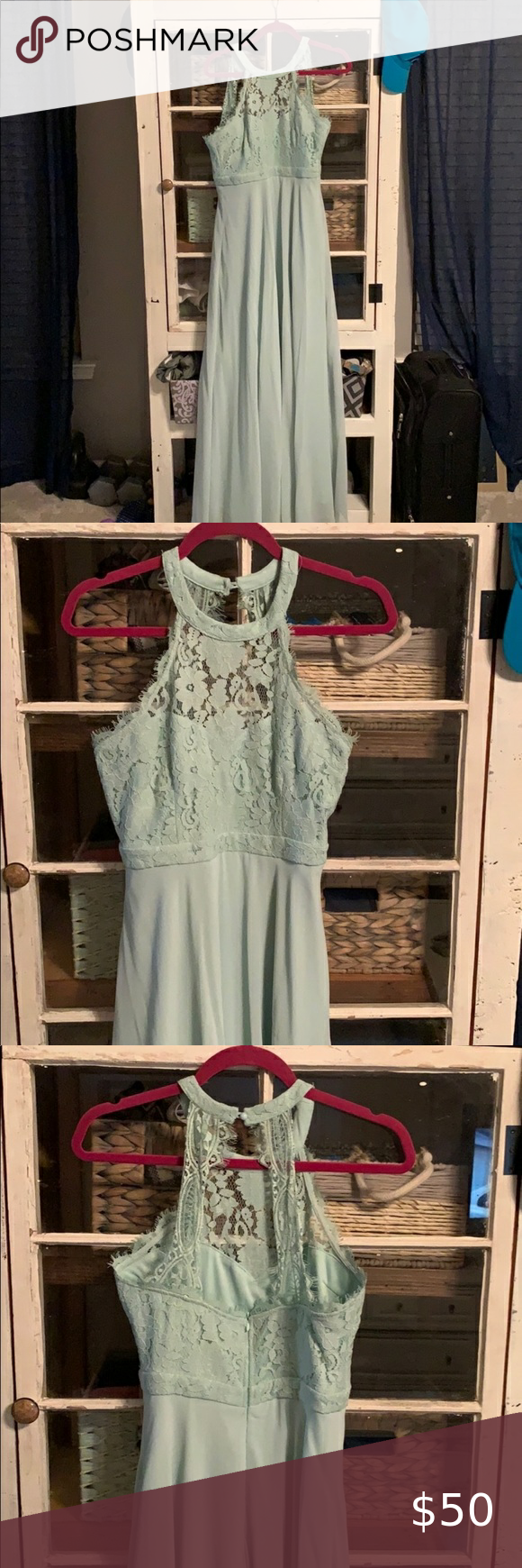 Lulus light sage green bridesmaid dress. Lace  Halter bridesmaid dress Has minor staining at main bottom where I was too short for the dress.  A little hemming would fix it. Lulu's Dresses Maxi #sagegreenbridesmaiddresses