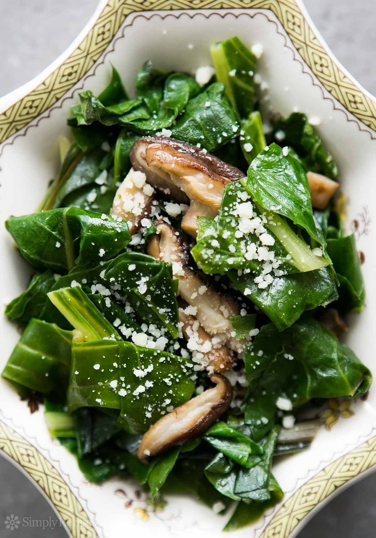 Swiss chard sautéed with shiitake mushrooms and sprinkled with Parmesan cheese. ~ SimplyRecipes.com