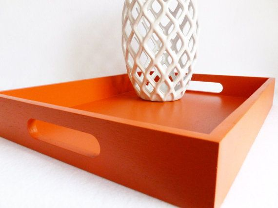 Marvelous Serving Tray Deep Orange With Handles By Gleamingrenditions Gamerscity Chair Design For Home Gamerscityorg