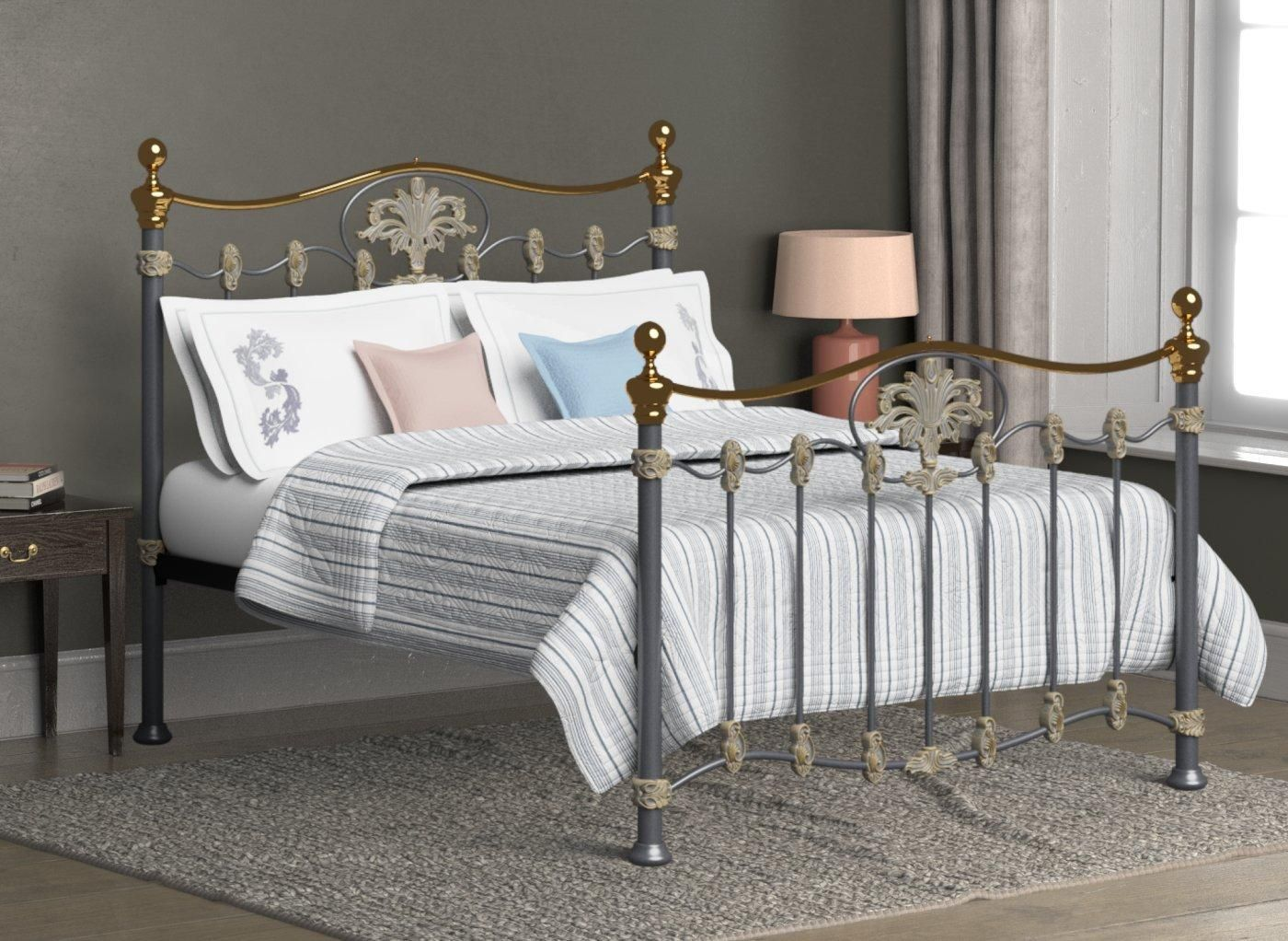 Camolin Brass Metal Bed Frame 6'0 Super king SILVER