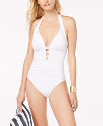 f9041c6af0c61 Lauren Ralph Lauren Plunging Cocktail Halter Slimming Fit One-Piece Swimsuit  - White 16