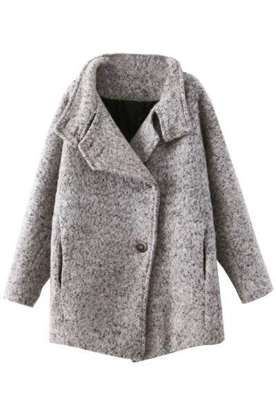 Captivating Grey Wool Pea Coat
